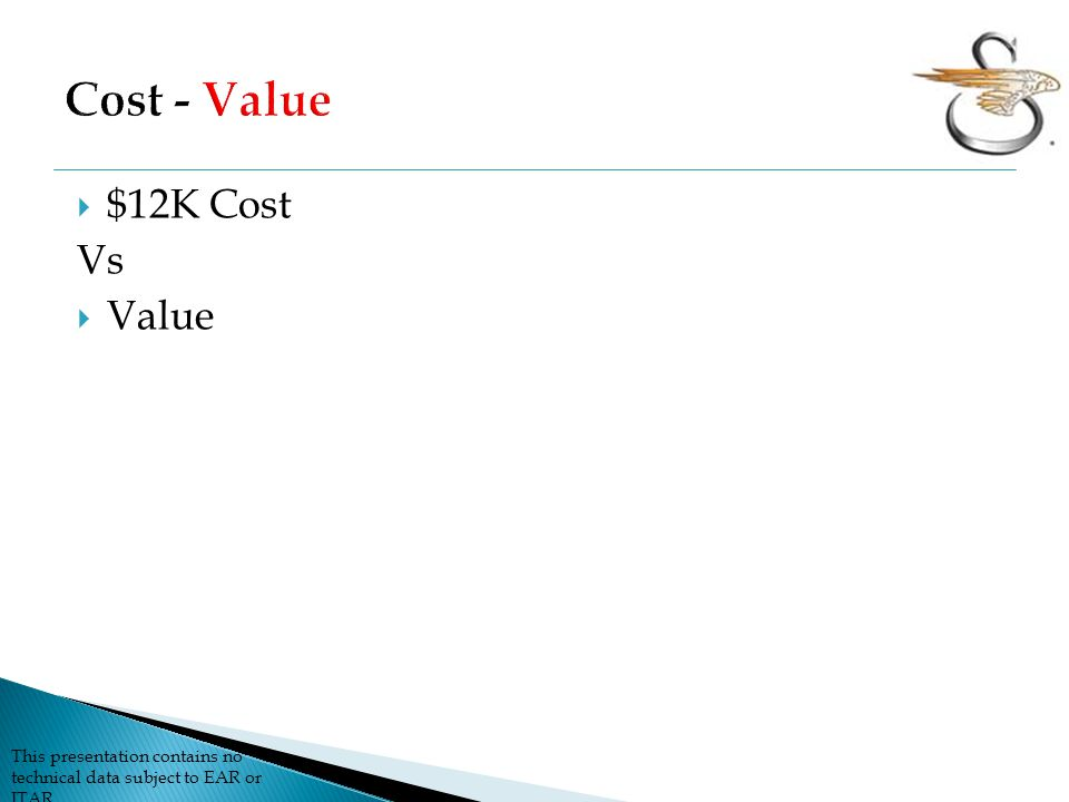 Cost - Value $12K Cost Vs Value
