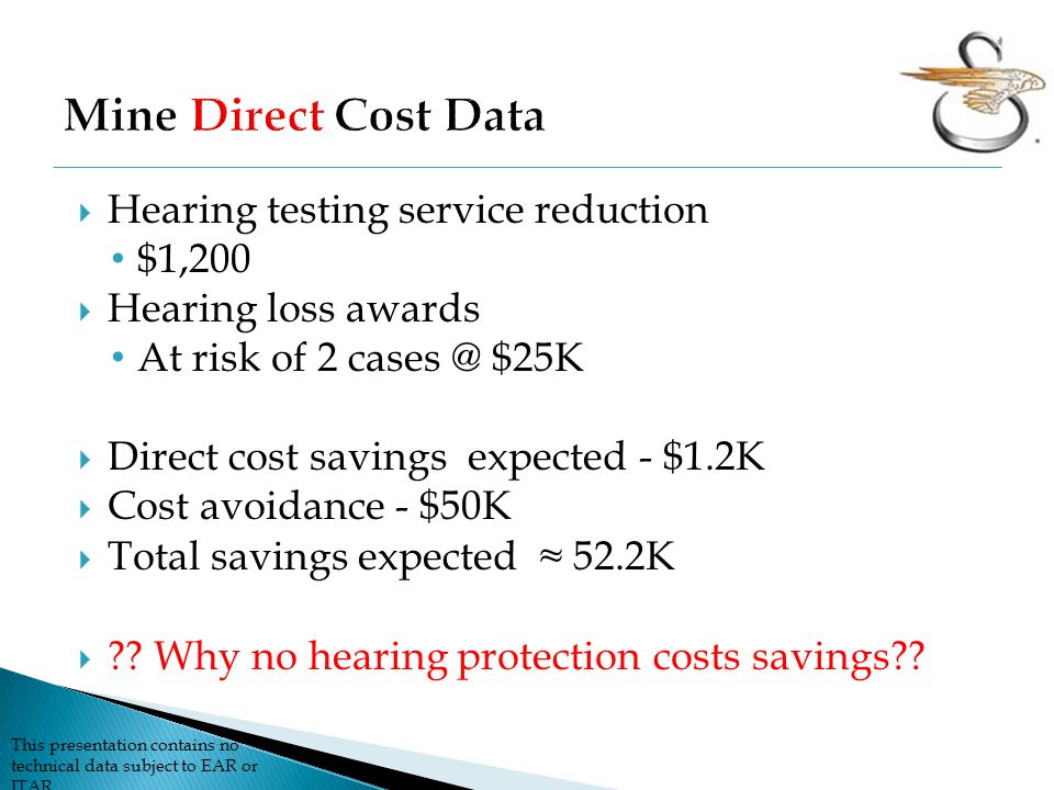 Mine Direct Cost Data Hearing testing service reduction $1,200