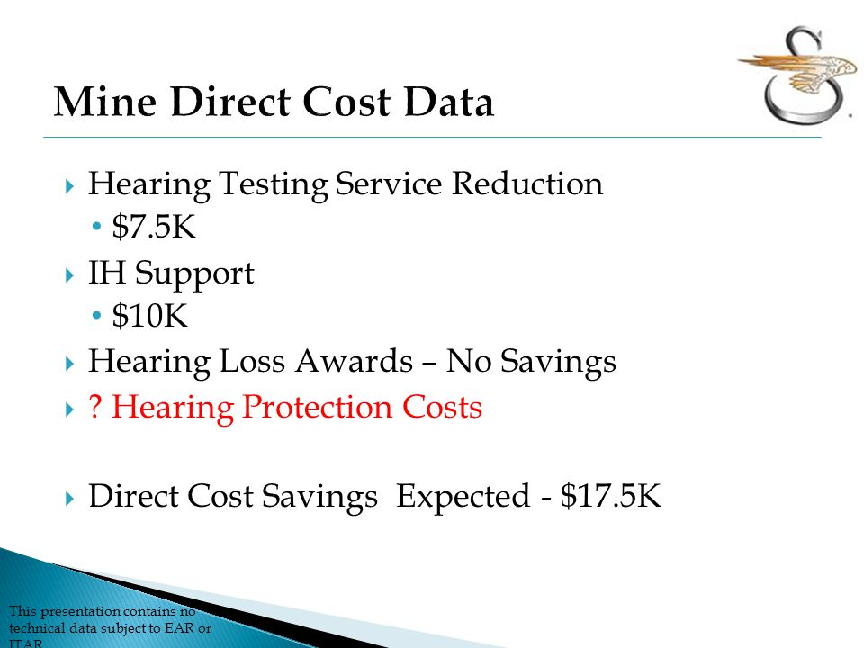 Mine Direct Cost Data Hearing Testing Service Reduction $7.5K