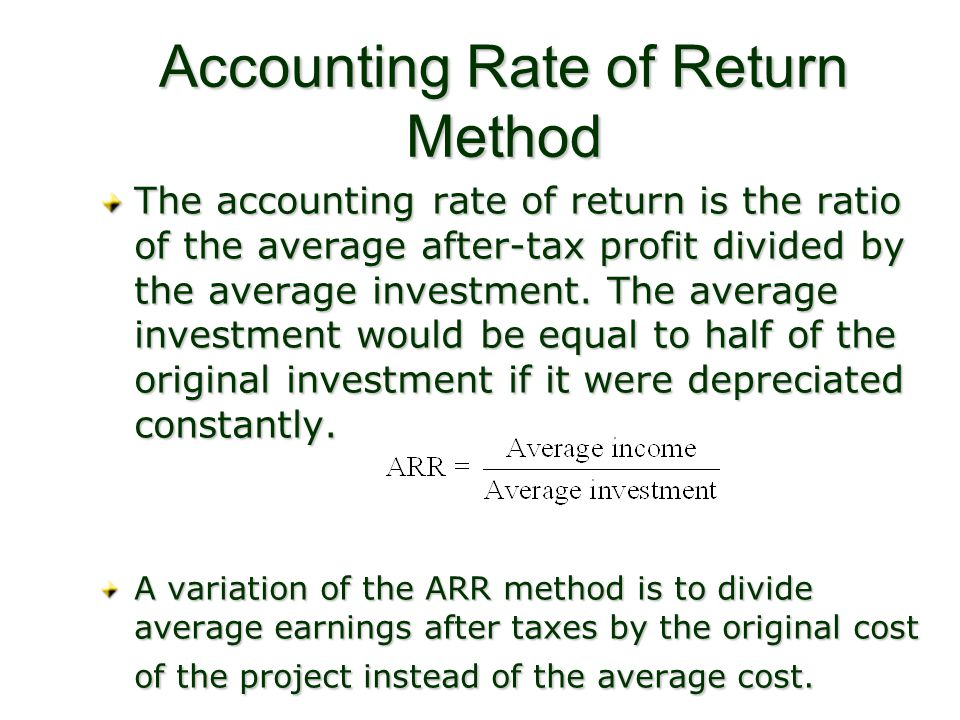 Accounting Rate of Return Method