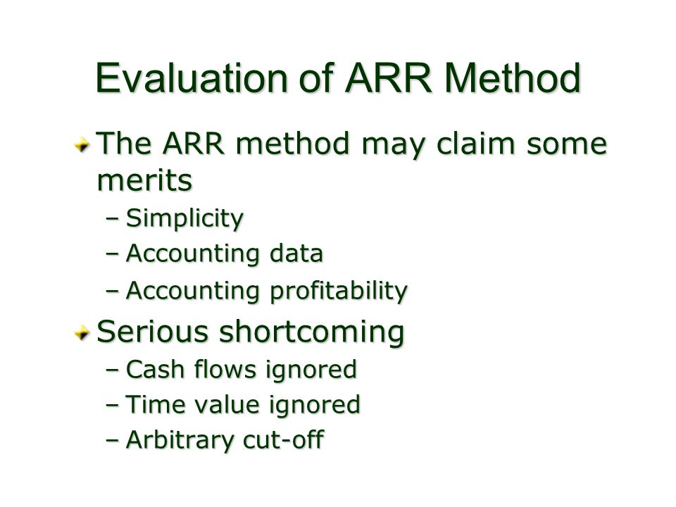 Evaluation of ARR Method