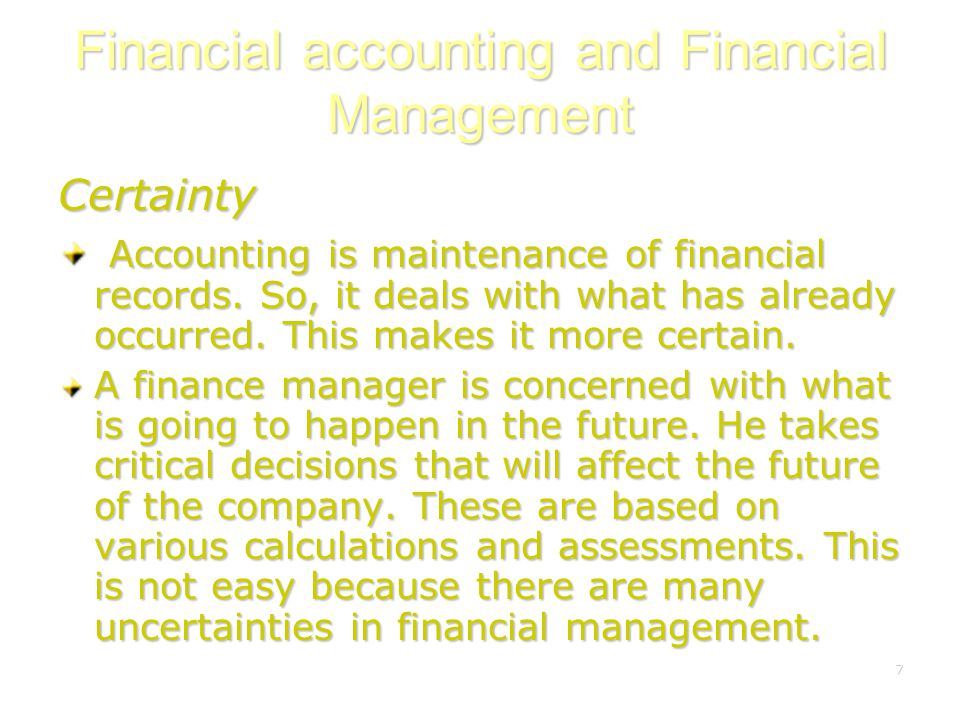 Financial accounting and Financial Management