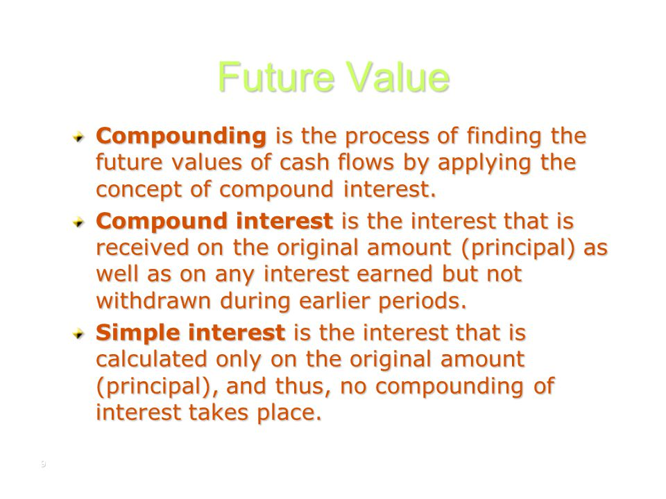 Future Value Compounding is the process of finding the future values of cash flows by applying the concept of compound interest.