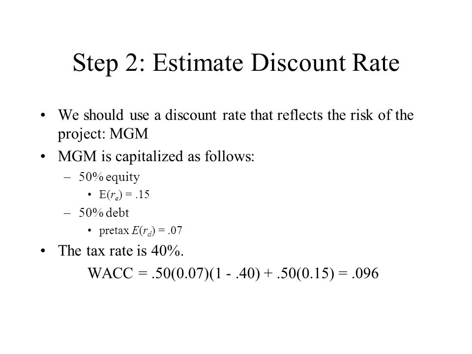 Step 2: Estimate Discount Rate