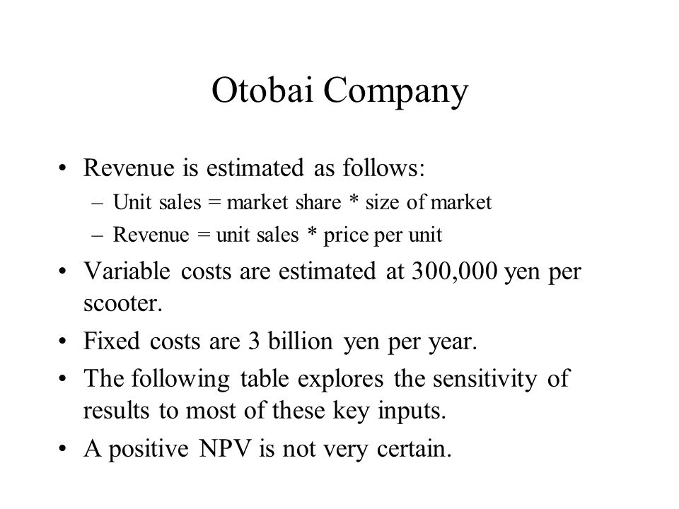 Otobai Company Revenue is estimated as follows: