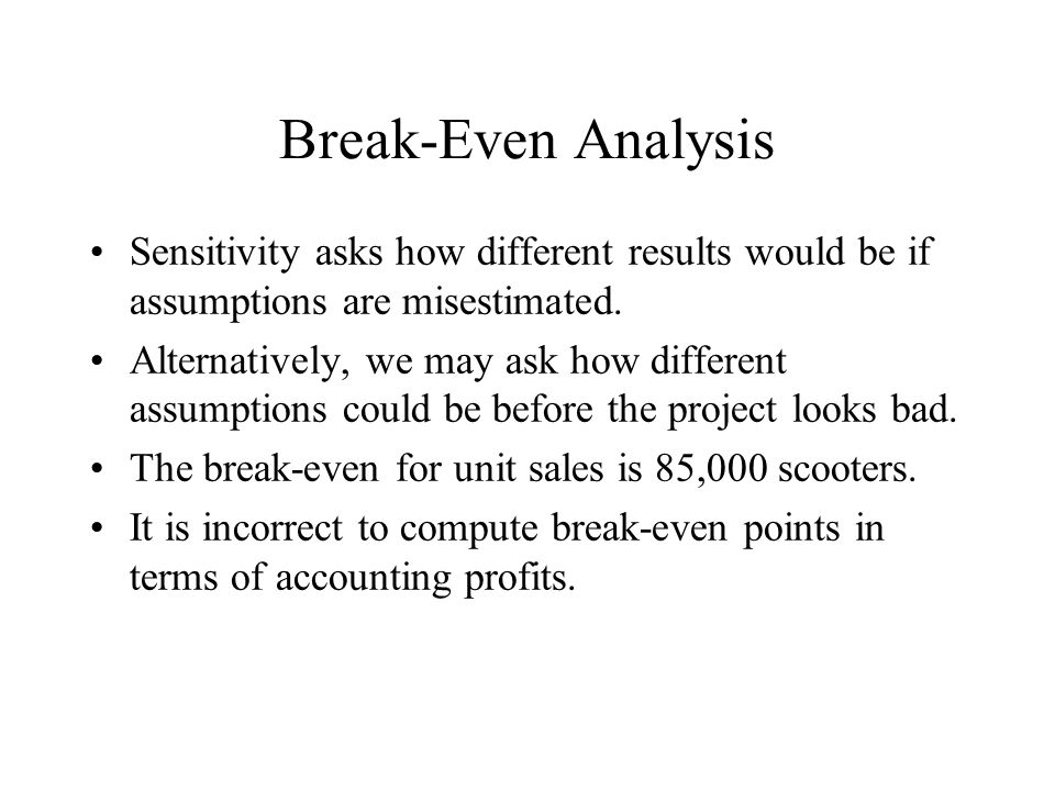 Break-Even Analysis Sensitivity asks how different results would be if assumptions are misestimated.
