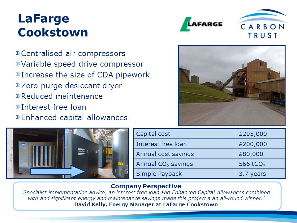 David Kelly, Energy Manager at LaFarge Cookstown