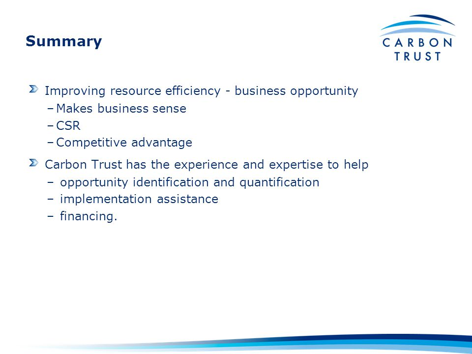 Improving resource efficiency - business opportunity