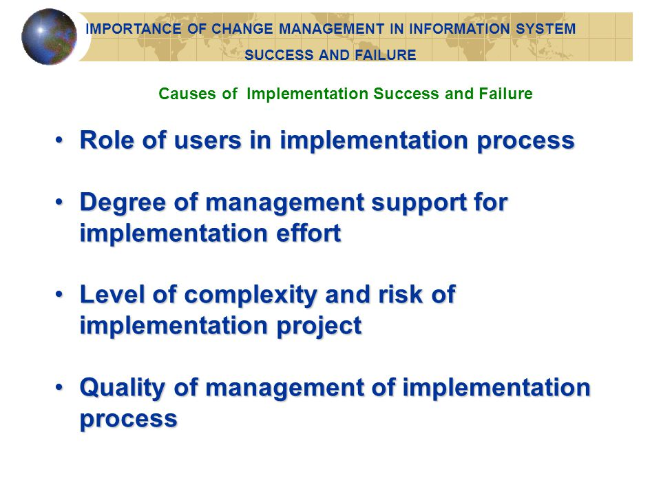 Role of users in implementation process