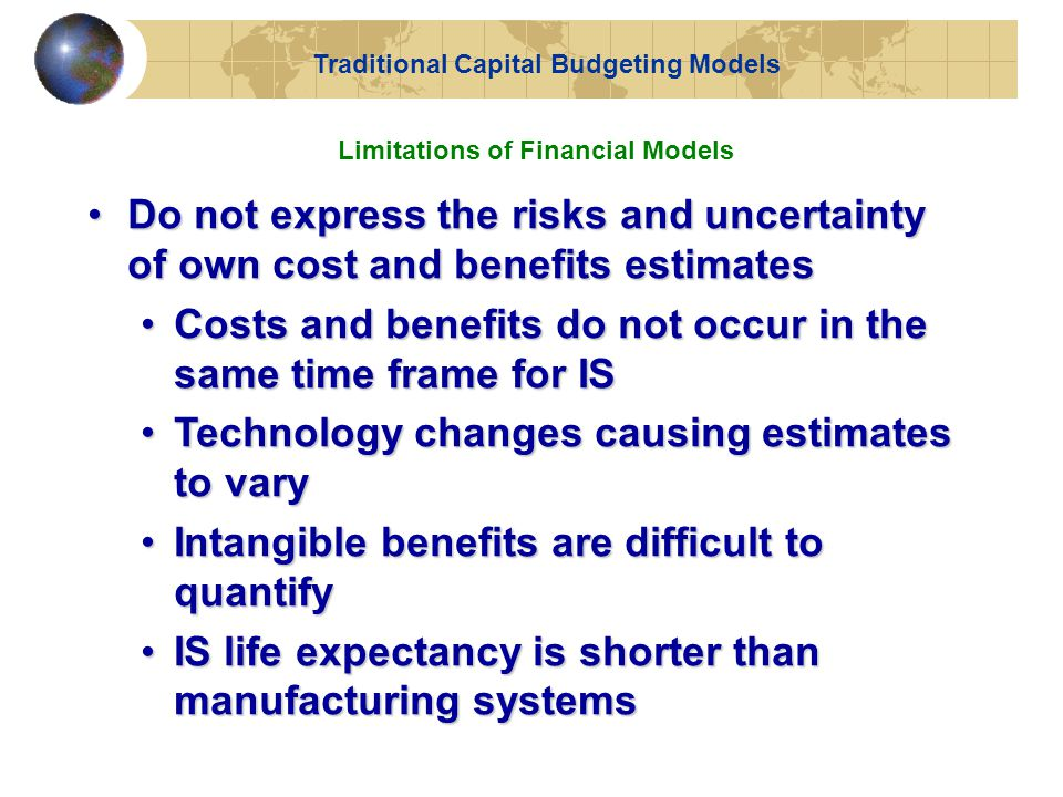 Traditional Capital Budgeting Models Limitations of Financial Models
