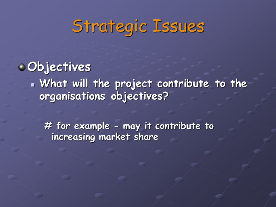 Strategic Issues Objectives