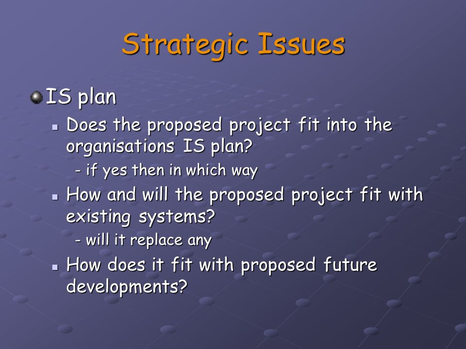 Strategic Issues IS plan