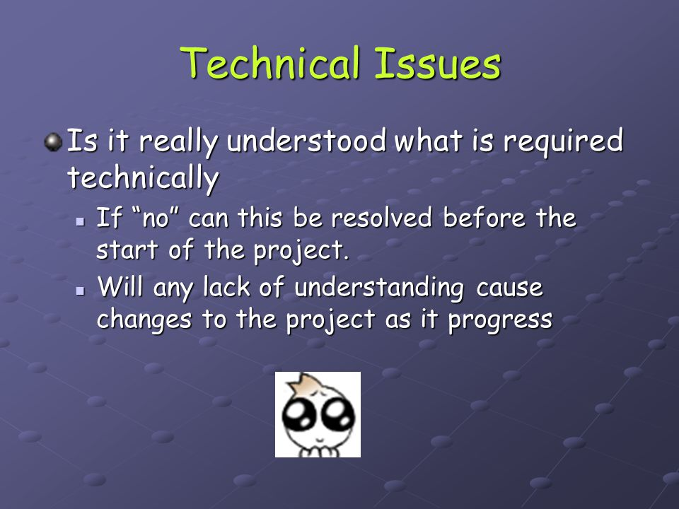 Technical Issues Is it really understood what is required technically