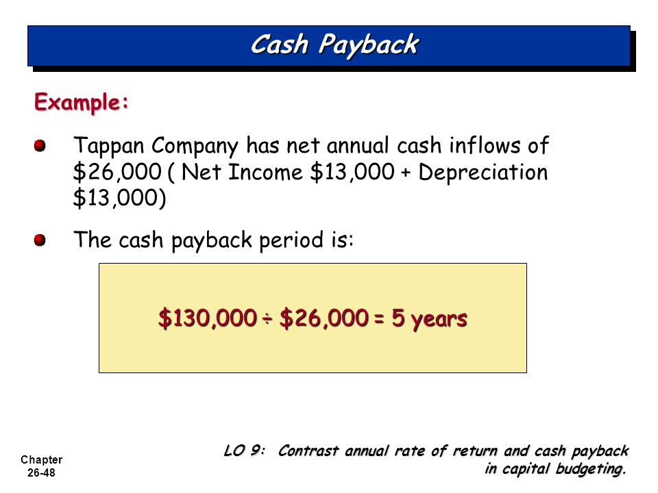 Cash Payback Example: Tappan Company has net annual cash inflows of $26,000 ( Net Income $13,000 + Depreciation $13,000)