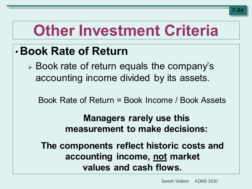 Other Investment Criteria