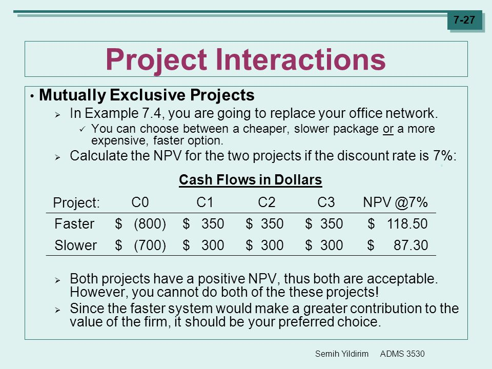 Project Interactions Mutually Exclusive Projects