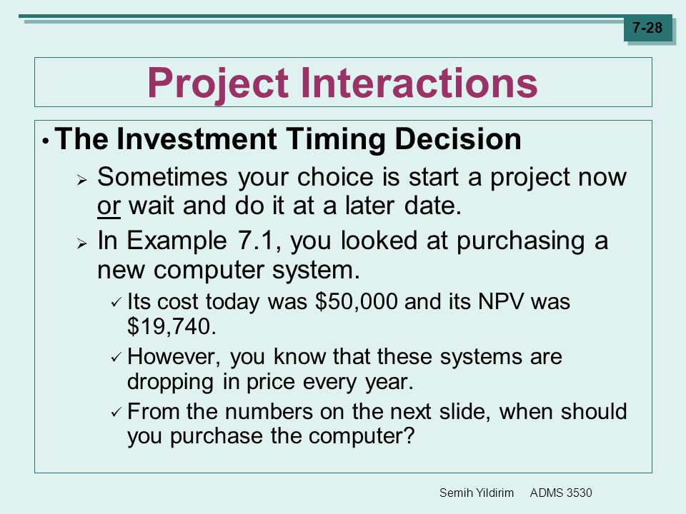 Project Interactions The Investment Timing Decision