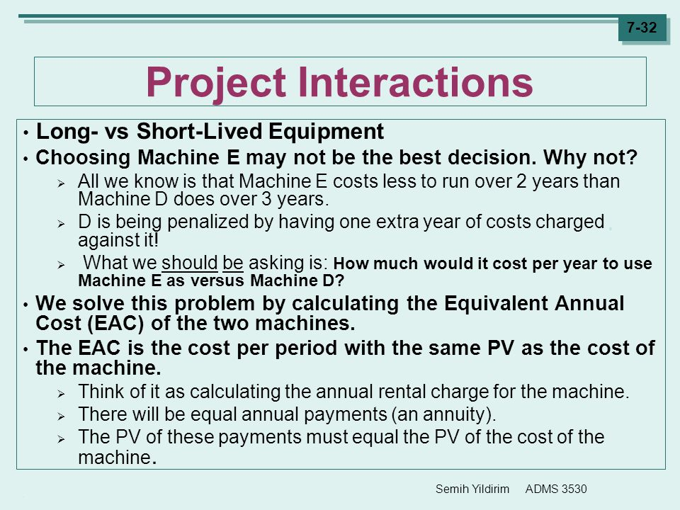 Project Interactions Long- vs Short-Lived Equipment