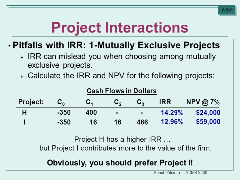 Obviously, you should prefer Project I!