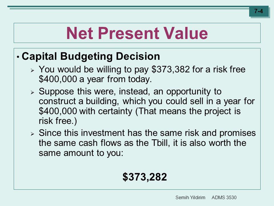 Net Present Value Capital Budgeting Decision $373,282