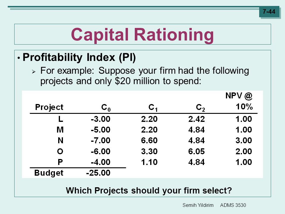Which Projects should your firm select