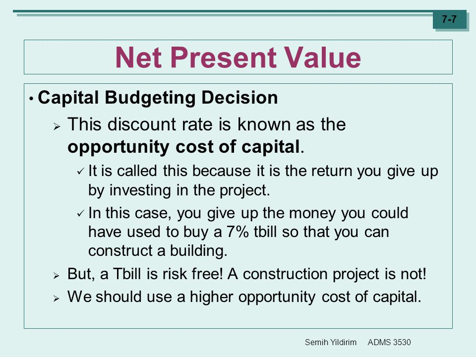 Net Present Value Capital Budgeting Decision