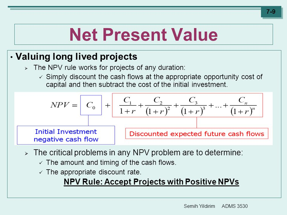 NPV Rule: Accept Projects with Positive NPVs
