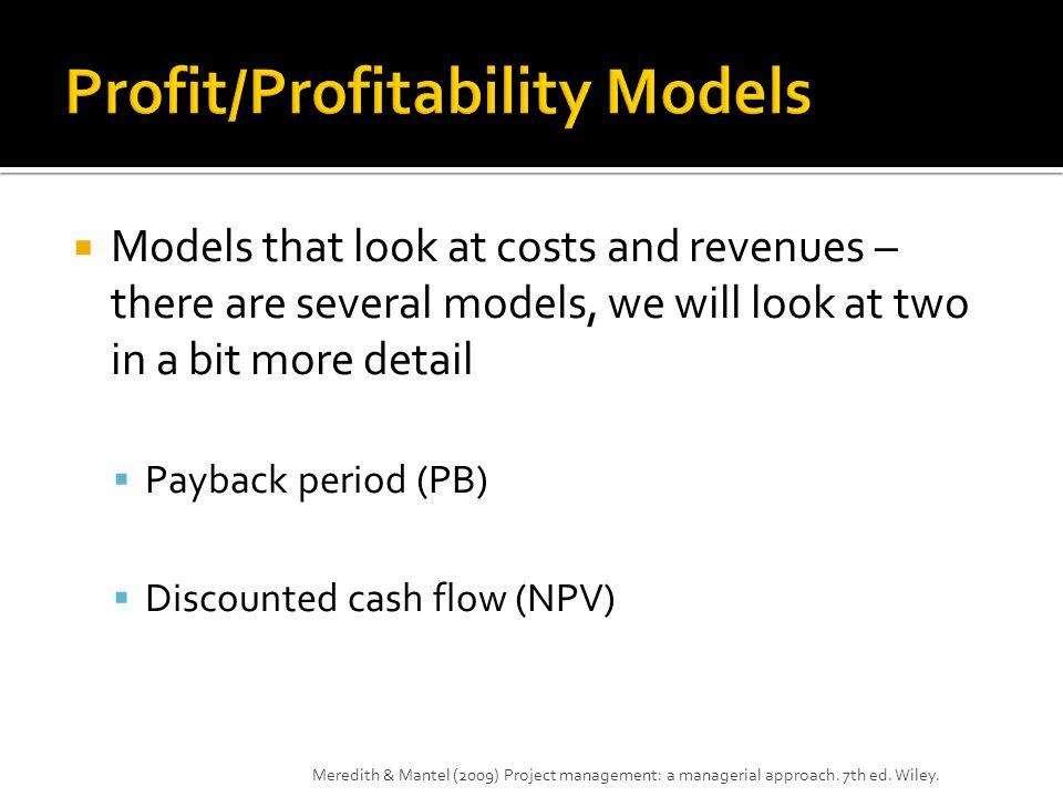 Profit/Profitability Models