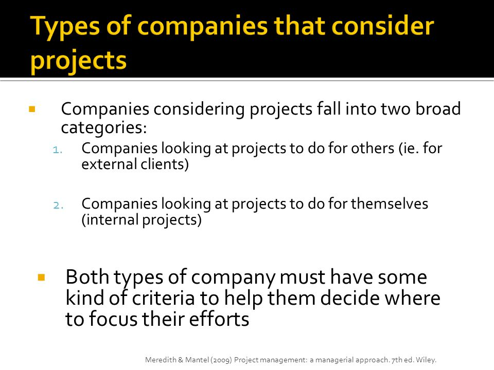 Types of companies that consider projects