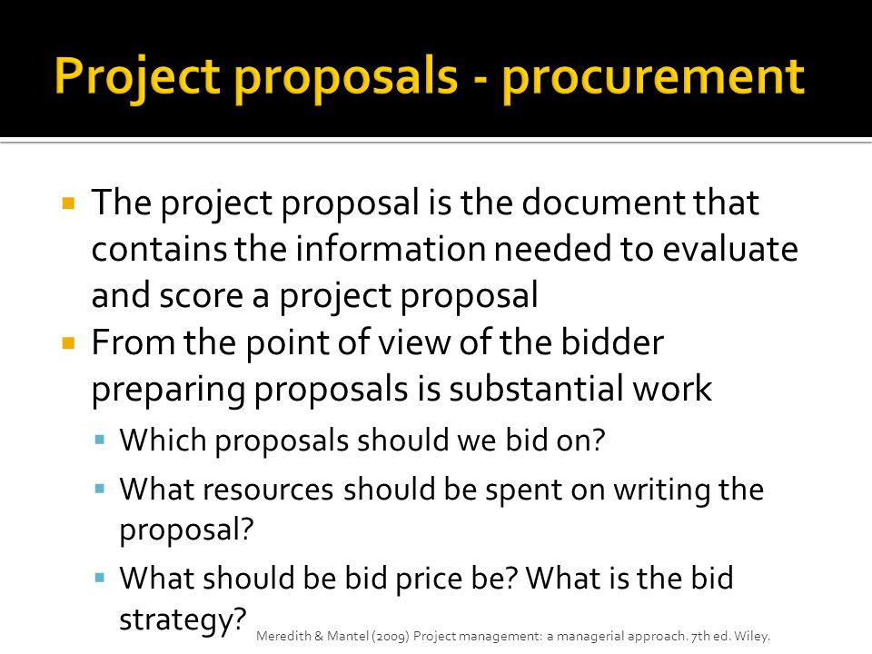 Project proposals - procurement