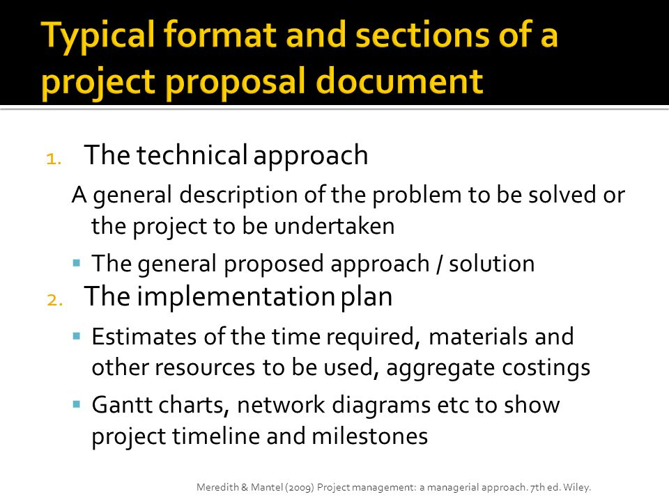 Typical format and sections of a project proposal document
