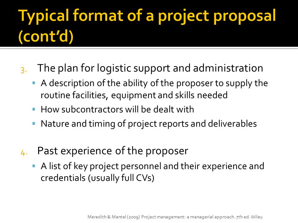 Typical format of a project proposal (cont'd)