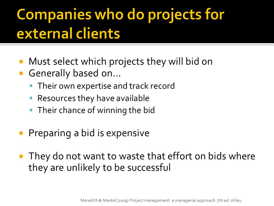 Companies who do projects for external clients