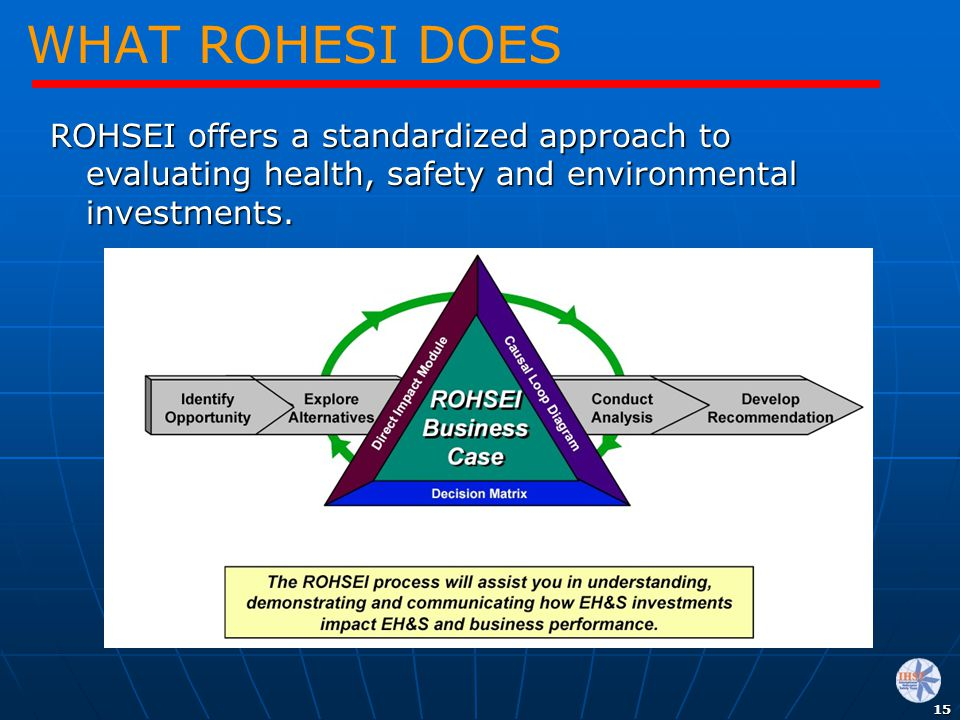 WHAT ROHESI DOES ROHSEI offers a standardized approach to evaluating health, safety and environmental investments.