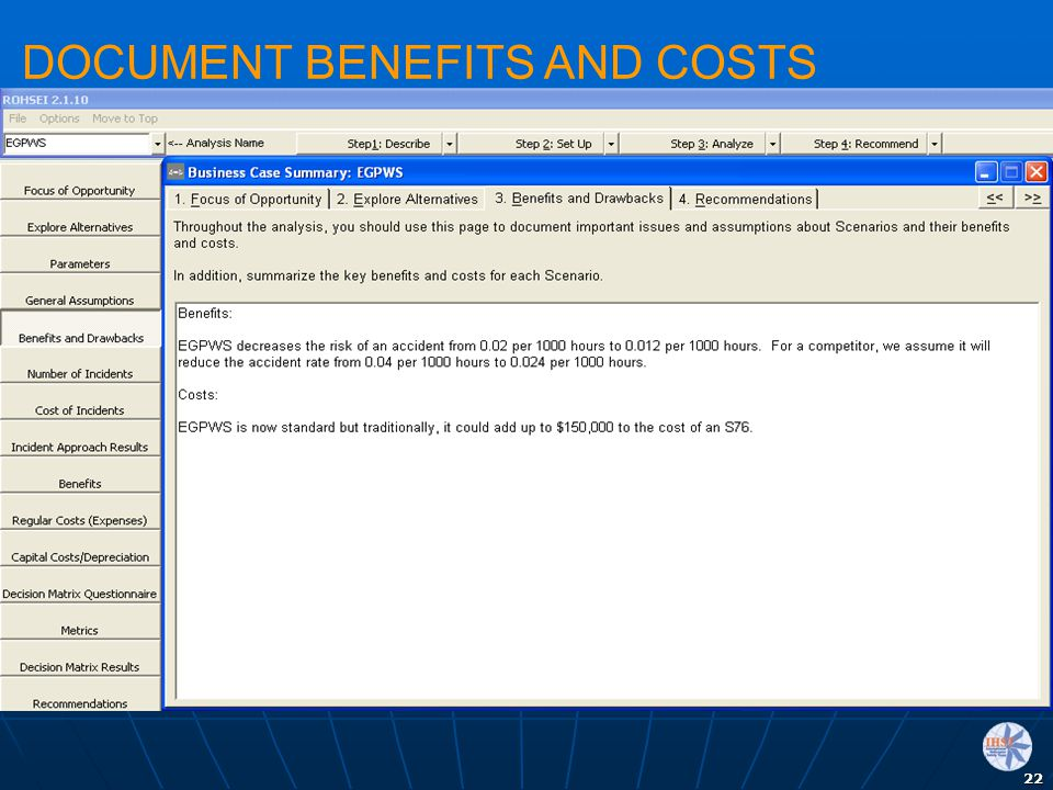 DOCUMENT BENEFITS AND COSTS