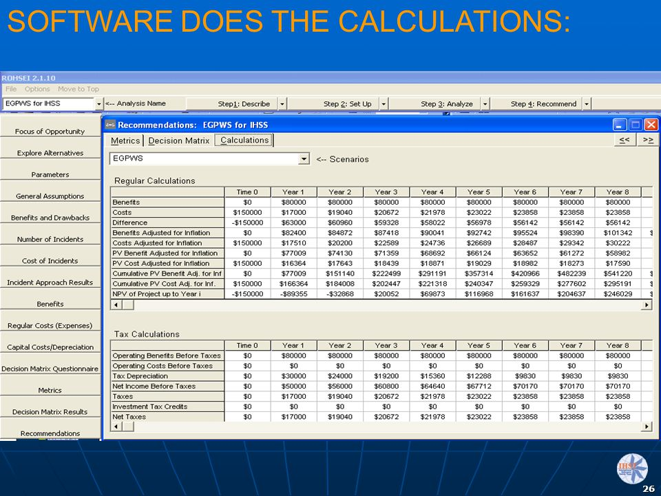 SOFTWARE DOES THE CALCULATIONS: