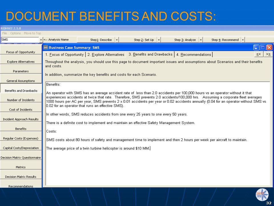 DOCUMENT BENEFITS AND COSTS:
