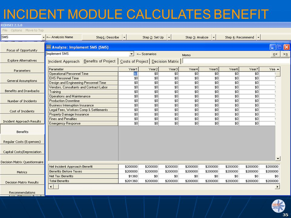 INCIDENT MODULE CALCULATES BENEFIT