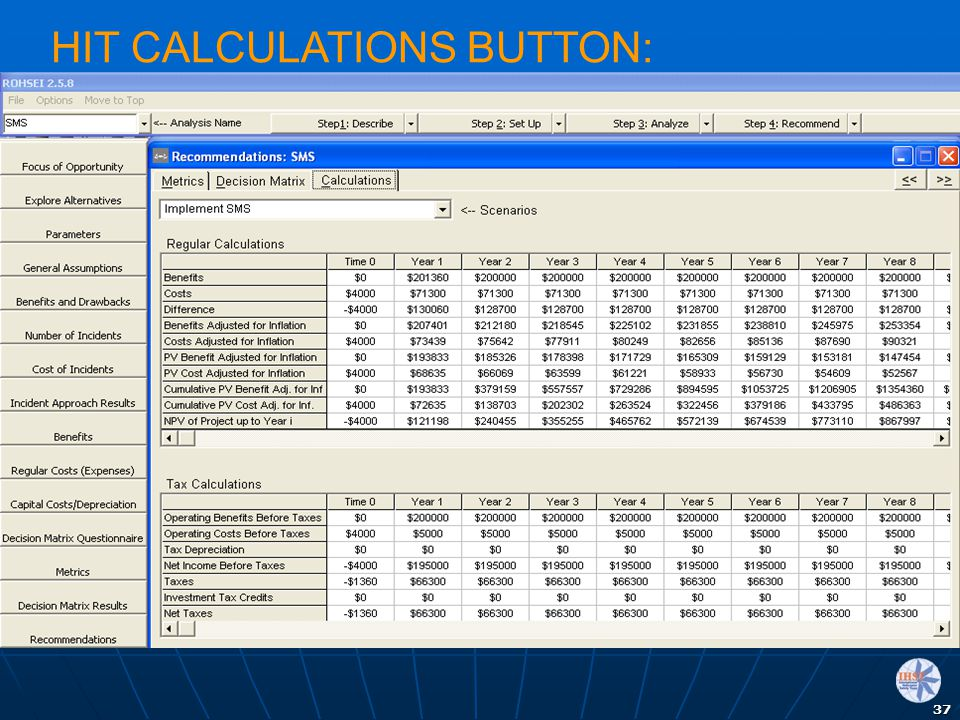 HIT CALCULATIONS BUTTON: