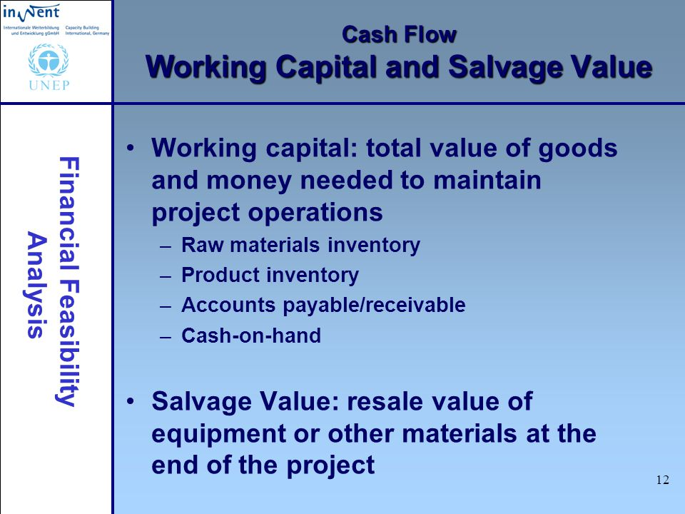 Cash Flow Working Capital and Salvage Value