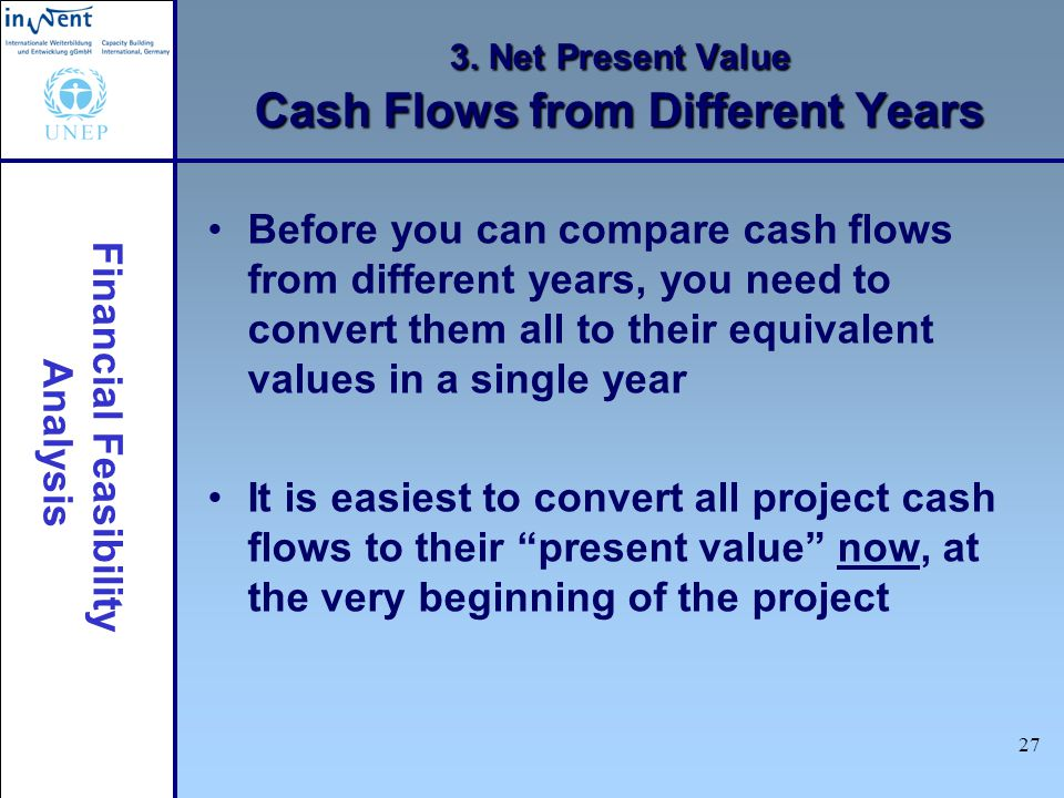 3. Net Present Value Cash Flows from Different Years