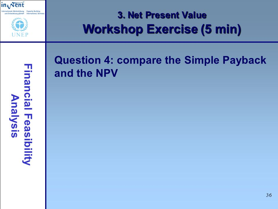 3. Net Present Value Workshop Exercise (5 min)