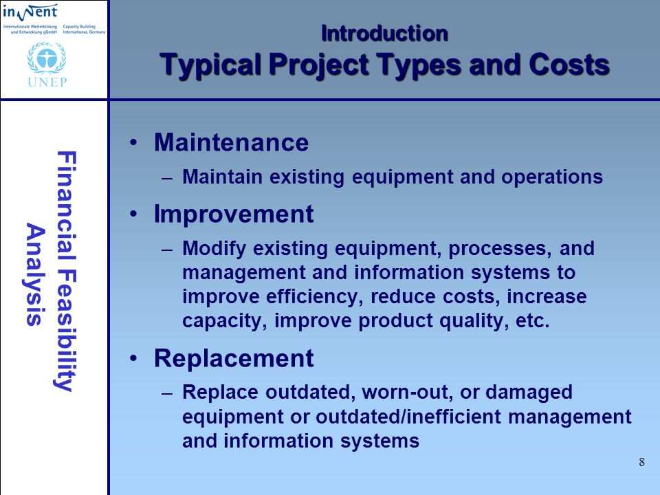 Introduction Typical Project Types and Costs