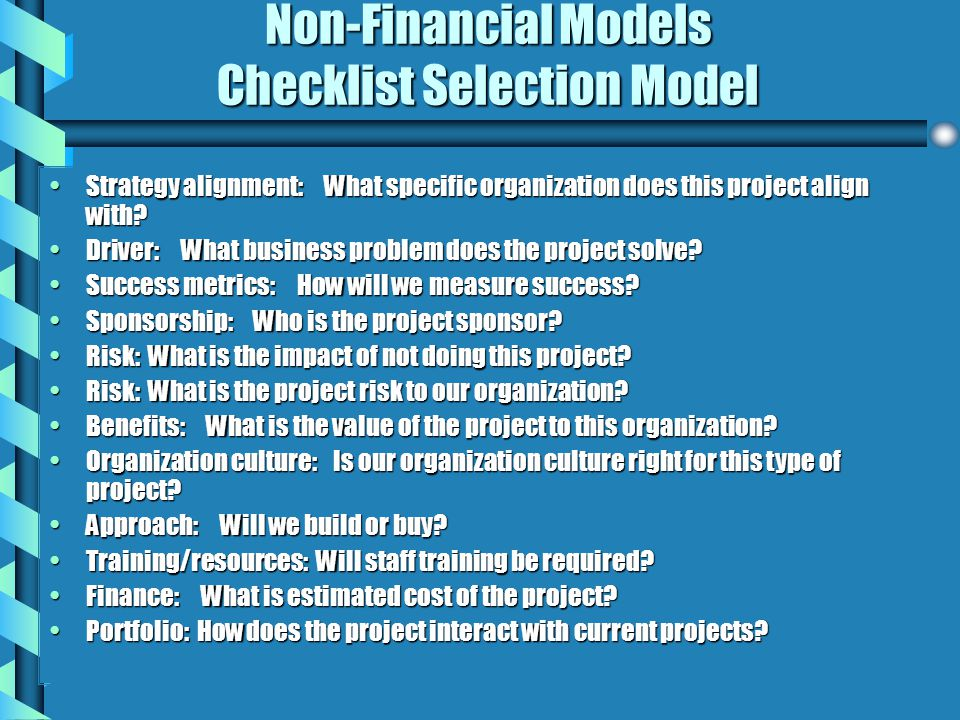 Non-Financial Models Checklist Selection Model