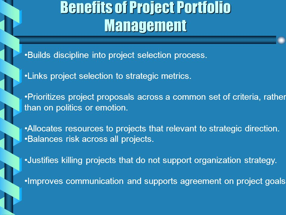 Benefits of Project Portfolio Management