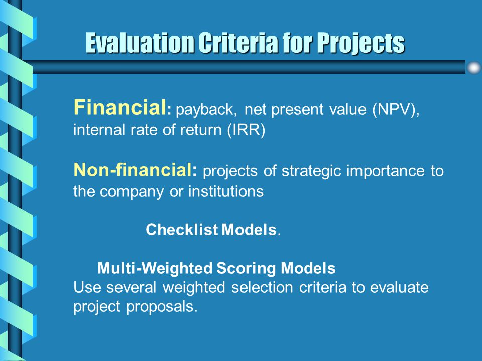 Evaluation Criteria for Projects