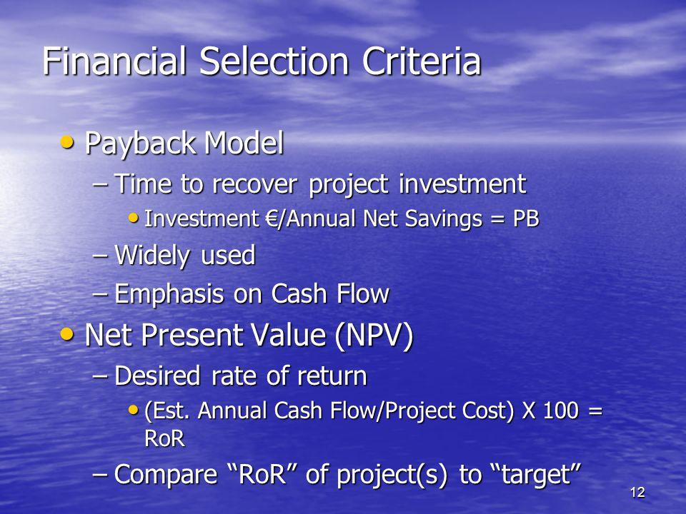 Financial Selection Criteria