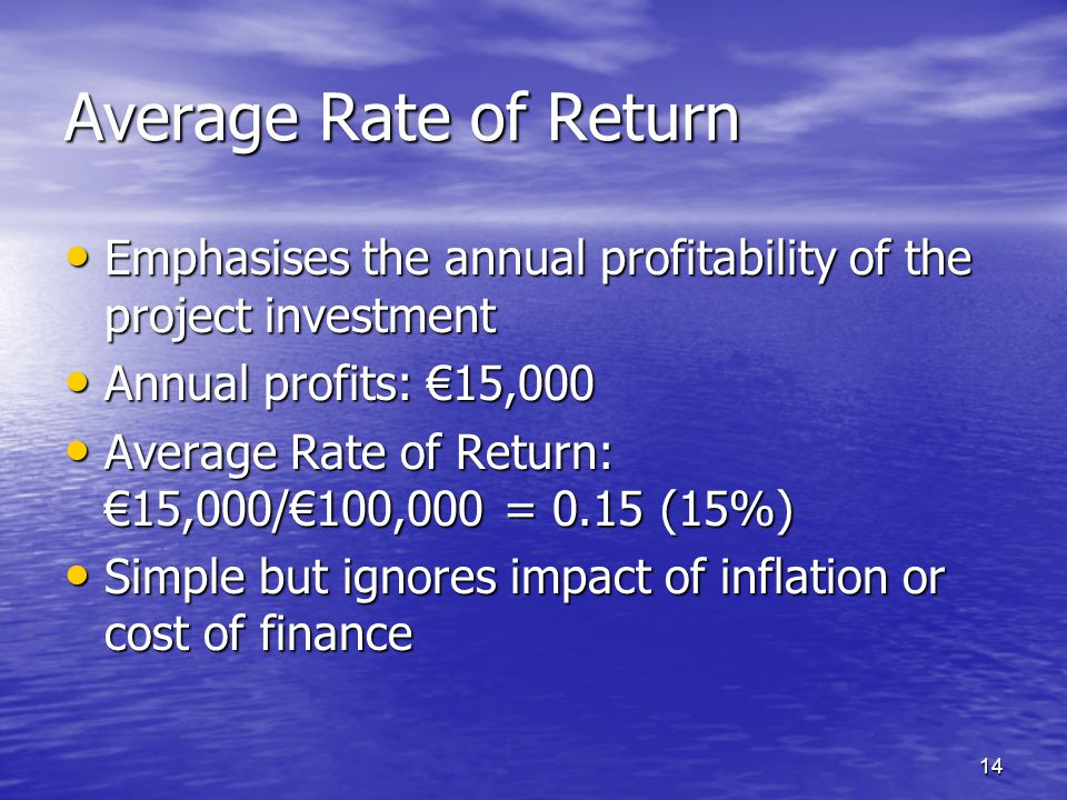 Average Rate of Return Emphasises the annual profitability of the project investment. Annual profits: €15,000.