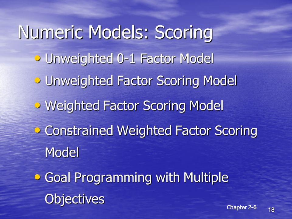 Numeric Models: Scoring
