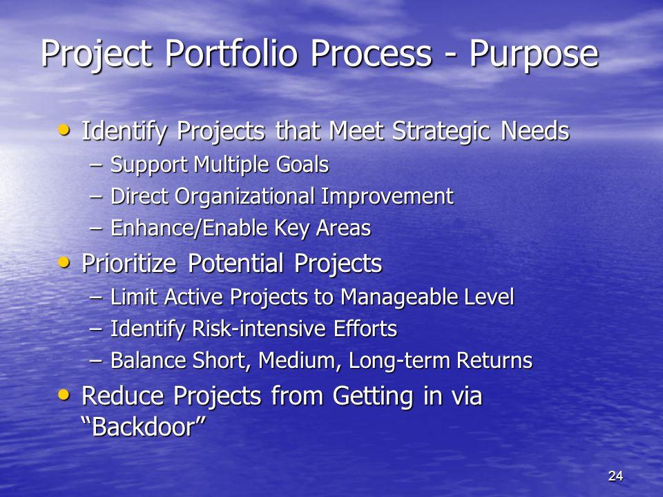 Project Portfolio Process - Purpose